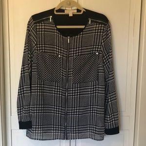 NWOT Michael Kors Black Print Bouse w/zippers
